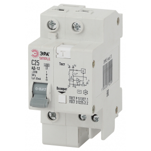 SIMPLE-mod-28 ЭРА SIMPLE Автоматический выключатель дифференциального тока 1P+N 10А 30мА тип АС х-ка