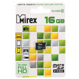 Mirex Micro SDHC 16 Gb Class 10 без адаптера (200)