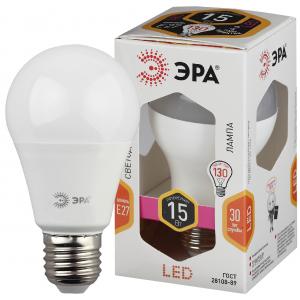 LED A60-15W-827-E27 ЭРА (диод, груша, 15Вт, тепл, E27) (10/100/1200)