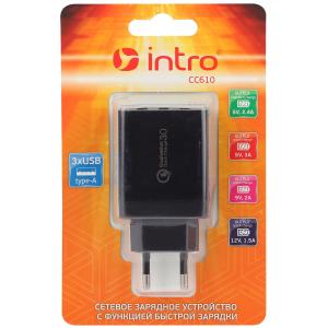 СС610 USB зарядки_25 Intro Зарядка сетевая Quick Charge, 3 USB (60/120/1440)