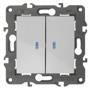 14-1105-01 ЭРА Выключатель двойной с подсветкой, 10АХ-250В, IP20, Эра Elegance, белый (10/100/3500)