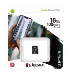 Kingston Micro SDHC 16 Gb Class 10 U1 A1 UHS-I, 100MB/s  Canvas Select Plus без адаптера