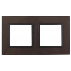 14-5102-13 ЭРА Рамка на 2 поста, стекло, Эра Elegance, бронза+антр (5/50/1200)