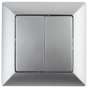 4-104-03 Intro Выключатель двойной, 10А-250В, СУ, Solo, алюминий (10/200/2400)
