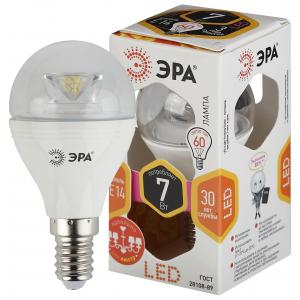 LED P45-7W-827-E14-Clear ЭРА (диод,шар,7Вт,тепл, E14) (6/60/2400)