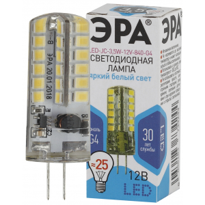 LED JC-3,5W-12V-840-G4 ЭРА (диод, капсула, 3,5Вт, нейтр, G4) (100/1000/30000)