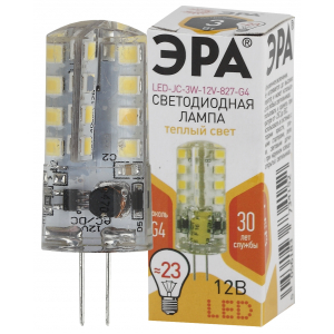 LED JC-3W-12V-827-G4 ЭРА (диод, капсула, 3Вт, тепл, G4) (100/1000/18000)