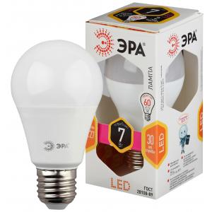 LED A60-7W-827-E27 ЭРА (диод, груша, 7Вт, тепл, E27) (10/100/2800)