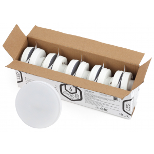 LED GX-6W-865-GX53 R (10-PACK) ЭРА (диод, таблетка, 6Вт, хол, GX53 (10-PACK)) (10/100/5600)