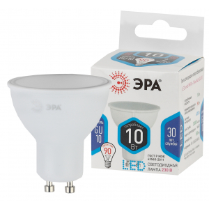 LED MR16-10W-840-GU10 ЭРА (диод, софит, 10Вт, нейтр, GU10) (10/100/4000)