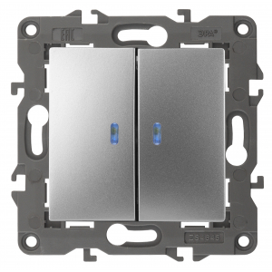 14-1105-03 ЭРА Выключатель двойной с подсветкой, 10АХ-250В, IP20, Эра Elegance, алюминий (10/100/160