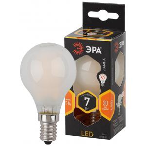 F-LED P45-7W-827-E14 frost ЭРА (филамент, шар мат., 7Вт, тепл, E14) (10/100/3000)