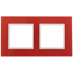 14-5102-23 ЭРА Рамка на 2 поста, стекло, Эра Elegance, красный+бел (5/50/1200)