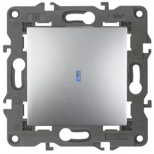 14-1102-03 ЭРА Выключатель с подсветкой, 10АХ-250В, IP20, Эра Elegance, алюминий (10/100/3000)