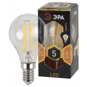 F-LED P45-5W-827-E14 ЭРА (филамент, шар, 5Вт, тепл, E14) (25/50/3000)