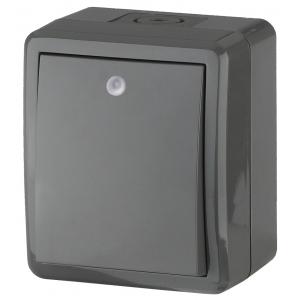 11-1402-03 ЭРА Выключатель с подсветкой IP54, 10АХ-250В, ОУ, Эра Эксперт, серый (16/160/2560)