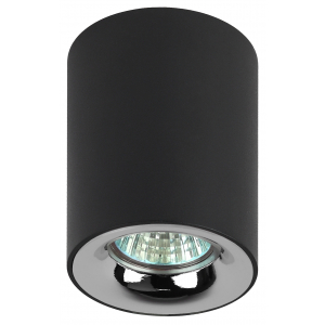 OL1 GU10 BK/CH Подсветка ЭРА накладной, GU10, D80*100мм, черный/хром (50/900)