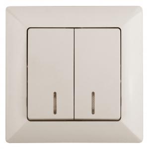 4-105-02 Intro Выключатель двойной с подсветкой, 10А-250В, СУ, Solo, сл.кость (10/200/2400)
