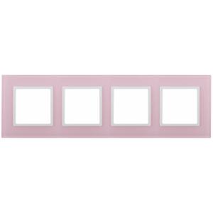 14-5104-30 ЭРА Рамка на 4 поста, стекло, Эра Elegance, розовый+бел (5/25/900)