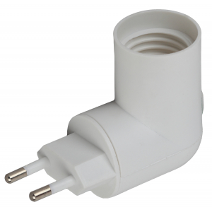 ЭРА Переходник вилка-Е27 с выключателем, белый (20/200/3600)
