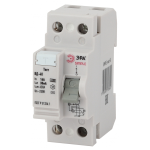 SIMPLE-mod-49 ЭРА SIMPLE Устройство защитного отключения УЗО ВД-40 4P 40А/100мА (электронное) (50/15