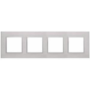 14-5204-03 ЭРА Рамка на 4 поста, металл, Эра Elegance, алюминий+алюм (5/25/750)