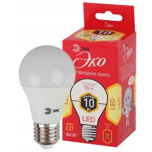 ECO LED A60-10W-827-E27 ЭРА (диод, груша, 10Вт, тепл, E27) (10/100/2000)