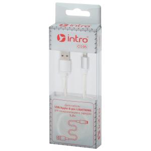 CI195 Кабели_25 Intro USB-Apple 8pin lightning, leather,1,2м, белый (100/200/2400)