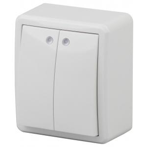 11-1205-01 ЭРА Выключатель двойной с подсветкой, 10АХ-250В, IP20, ОУ, Эра Эксперт, белый (16/160/320