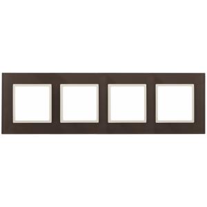 14-5104-31 ЭРА Рамка на 4 поста, стекло, Эра Elegance, мокко+сл.к (5/25/900)