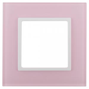 14-5101-30 ЭРА Рамка на 1 пост, стекло, Эра Elegance, розовый+бел (10/50/1800)