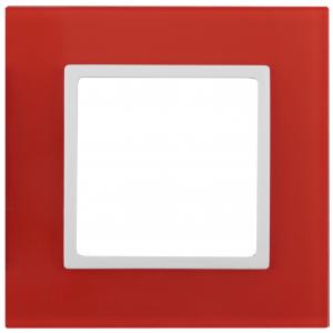 14-5101-23 ЭРА Рамка на 1 пост, стекло, Эра Elegance, красный+бел (10/50/1500)