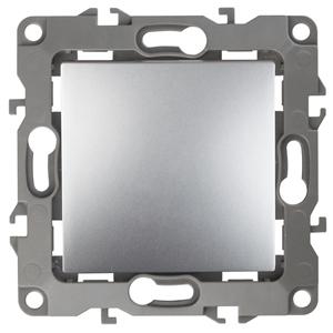 12-1001-03 ЭРА Выключатель, 10АХ-250В, IP20, без м.лапок, Эра12, алюминий (10/100/2500)