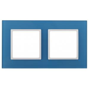 14-5102-28 ЭРА Рамка на 2 поста, стекло, Эра Elegance, голубой+бел (5/50/1200)