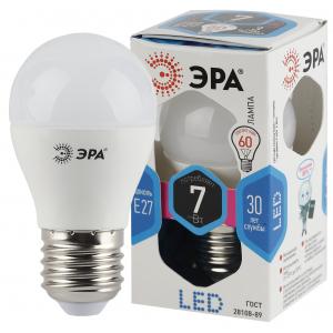 LED P45-7W-840-E27 ЭРА (диод, шар, 7Вт, нейтр, E27) (10/100/3000)
