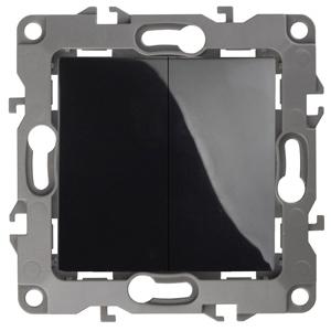 12-1104-06 ЭРА Выключатель двойной, 10АХ-250В, IP20, Эра12, чёрный (10/100/3200)