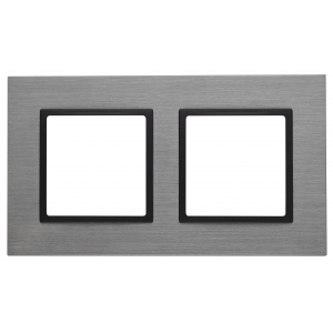 14-5202-42 ЭРА Рамка на 2 поста, металл, Эра Elegance, титан+антр (5/50/1200)