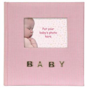 """Innova Q9306337 Фотоальбом 100 фото 10*15 """"Детский розовый с клетчатой льняной обложкой"""", кармашки ("""