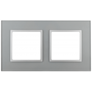 14-5102-03 ЭРА Рамка на 2 поста, стекло, Эра Elegance, алюминий+алюм (5/50/1200)