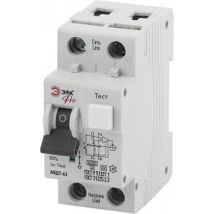ЭРА Pro Автоматический выключатель дифференциального тока NO-902-11 АВДТ 63 B25 10мА 1P+N тип A (90/