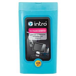 Intro Чистящие салфетки д/ LCD телевиз. и плаз. панелей, 100 шт. (большая туба) (12/1008)