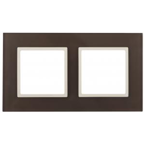 14-5102-31 ЭРА Рамка на 2 поста, стекло, Эра Elegance, мокко+сл.к (5/50/1200)