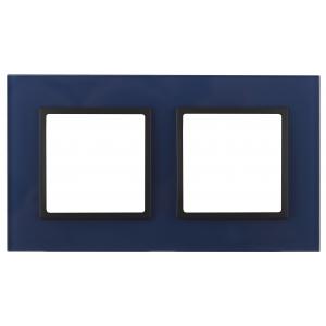 14-5102-29 ЭРА Рамка на 2 поста, стекло, Эра Elegance, синий+антр (5/50/1200)