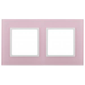 14-5102-30 ЭРА Рамка на 2 поста, стекло, Эра Elegance, розовый+бел (5/50/1200)