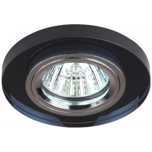 DK7 CH/BK Светильник ЭРА декор стекло круглое MR16,12V/220V, 50W, хром/черный (50/2100)