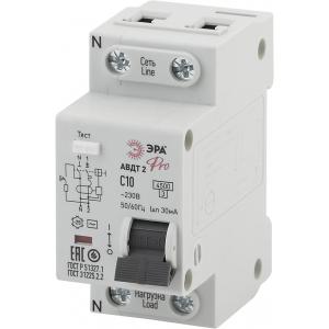 ЭРА Pro Автоматический выключатель дифференциального тока NO-902-137 АВДТ2 C10А  30мА 1P+N тип AC (9