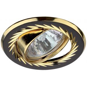 KL6A GU/G Светильник ЭРА литой пов. с гравировкой по кругу MR16,12V/220V, 50W черный металл/золото (