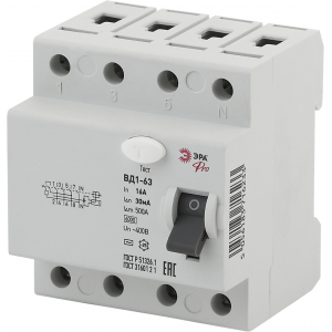 ЭРА Pro Устройство защитного отключения NO-902-43 УЗО ВД1-63 3P+N 16А 30мА (45/810)