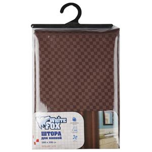 "White Fox Штора для ванной EXCELLENT SATIN, ""Шахматка шоколад"" 180*200 см. (24/240)"