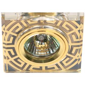 DK27 GD/WH Светильник ЭРА декор стекло квадрат с рис антик MR16,12V/220V, 50W, золото/прозрачный (5/